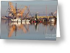 Construction Of Oil Platform With Boats Greeting Card