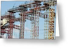 Construction Site New Bridge Arc Greeting Card