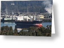 Container Ship Ready To Load More Lumber Greeting Card