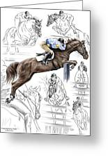 Contemplating Flight - Horse Jumper Print Color Tinted Greeting Card by Kelli Swan