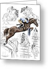 Contemplating Flight - Horse Jumper Print Color Tinted Greeting Card