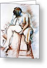 Contemplation - Nude On A Stool Greeting Card