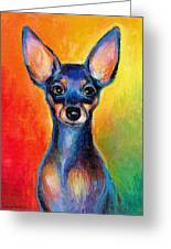 Contemporary Colorful Chihuahua Chiuaua Painting Greeting Card