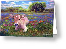 Contented Cow In Colorful Meadow Greeting Card