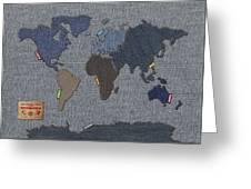 Continental Denim World Map Greeting Card