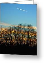 Contrail At Dusk Greeting Card
