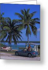 Convertible On Pigeon Key In Florida Greeting Card