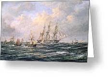 Convoy Of East Indiamen Amid Fishing Boats Greeting Card
