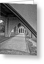 Conway River Walk Black And White Greeting Card