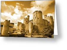 Conwy Castle And The Telford Suspension Bridge North Wales Greeting Card