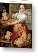 Cook With Chicken. In The Background Christ With Mary And Martha Greeting Card