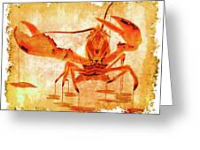 Cooked Lobster On Parchment Paper Greeting Card