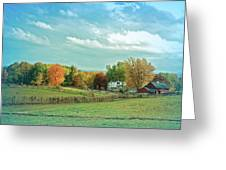Cool Blue Autumn Farm Greeting Card