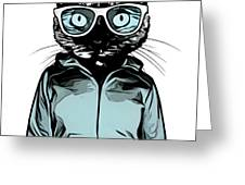 Cool Cat Greeting Card by Nicklas Gustafsson