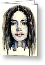 Cool Colored Watercolor Face Greeting Card