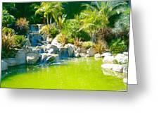 Cool Green Waterfall Greeting Card