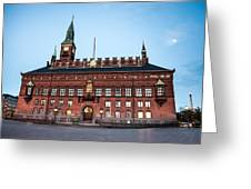 Copenhagen City Hall By Night Greeting Card