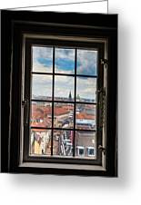 Copenhagen Cityscape And Roofs Behind A Window Greeting Card