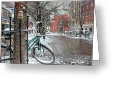 Copenhagen In The Winter.a Lonely Bike Greeting Card