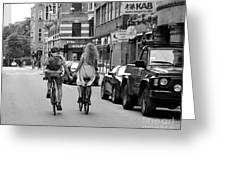 Copenhagen Lovers On Bicycles Bw Greeting Card
