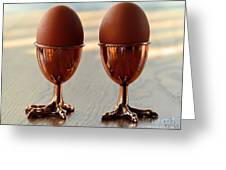 Copper Chicken Feet Egg Cups Greeting Card