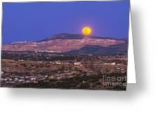 Copper Moon Rising Over The Santa Rita Greeting Card
