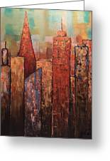 Copper Points, Cityscape Painting Greeting Card