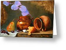 Copper Pot With Clay Pot  Greeting Card