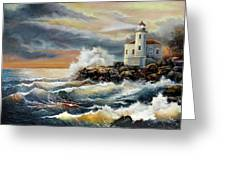 Coquille River Lighthouse At Hightide Greeting Card