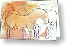 Coral Horses Greeting Card