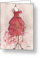 Coral Pink Party Dress Greeting Card