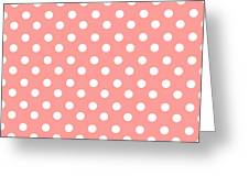 Coral Pink Polka Dots Greeting Card