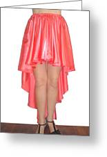 Coral Pink Satin High Low Skirt With High Slit. Ameynra Simple Line Greeting Card