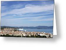 Corfu Town And Port With Cruiser Cityscape Greeting Card