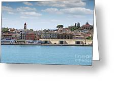 Corfu Town Port With Warehouses Greeting Card