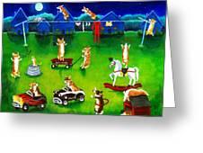 Corgi Backyard Circus Greeting Card by Lyn Cook