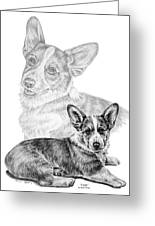 Corgi Dog Art Print Greeting Card