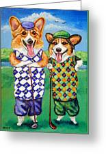Corgi Golfers Pembroke Welsh Corgi Greeting Card by Lyn Cook