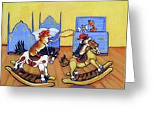 Pembroke Welsh Corgi Rainy Day Cowboys Greeting Card