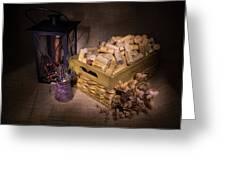 Cork Basket Candle Lamp Greeting Card