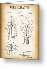 Cork Extractor Patent  1930 Greeting Card