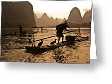 Cormorant Fishermen At Sunset Greeting Card