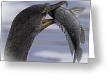 Cormorant's Whopper Dive Catch Greeting Card