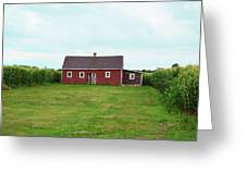 Red Barn In Field Greeting Card