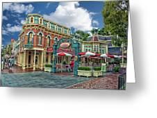 Corner Cafe Main Street Disneyland 01 Greeting Card