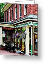 Corner Restaurant With Hanging Plants Greeting Card