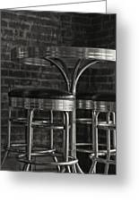 Corner Table - Black And White Greeting Card
