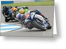 Cornering Motorcycle Racers Greeting Card