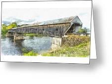 Cornish Windsor Covered Bridge Pencil Greeting Card