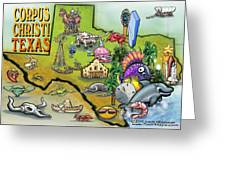 Corpus Christi Texas Cartoon Map Greeting Card